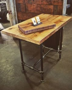 #jillyswood adjustable condo harvest table or kitchen island. Easily adjusts from dining height to counter height and bar height. Available at the Leslieville Flea today for $600! Can't make it? Shoot us an email! #reclaimedwood #woodrescue #woodhunters #leslieville #restaurantsofleslieville #leslievilleflea #woodlife #jillyswood #broadviewhotel #pipefurniture #pipetable #rustic #industrial #handmade #character #bar #toronto #yyz #thesix #custom #wood by breadandbutter.to