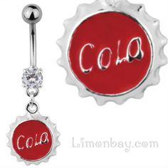 Piercing de ombligo con chapita de Cola colgante