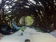 Inside the Treebones Resort - cover up this back hole for more wind protection/warmth.