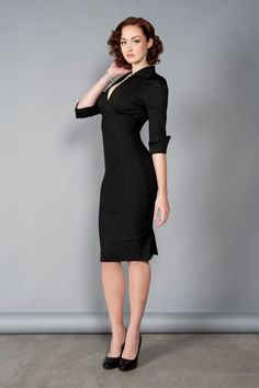 Pinup Couture Lauren Retro Style Dress in Solid Black | Pinup Girl Clothing