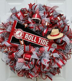 XX Large Alabama Football Wreath Mesh Collegiate Wreath Roll Tide Wreath  Alabama Door Wreath  Sports Wreath Gift Home Decor Crimson U0026 White.