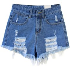 Choies Dark Blue Loose High Waist Ripped Denim Shorts ($22) found on Polyvore featuring shorts, bottoms, short, pants, blue, short jean shorts, high waisted shorts, distressed high waisted shorts, high-waisted jean shorts and denim shorts