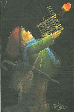 """With Love"" by Juan Ferrandiz by contrarymary (Mary Pat) Vintage Christmas Cards, Christmas Love, Christmas Pictures, Vintage Cards, Vintage Images, Spanish Painters, Sacred Art, Whimsical Art, Cute Illustration"