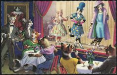 Alfred Mainzer Cats Fashion Show Art Print Postcard by StarvingPackrats, $6.99 #StrikeAPose #CatWalk