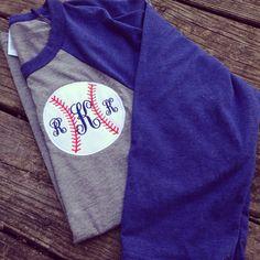 Monogrammed appliquéd Baseball Tee Personalized Monogrammed T-shirts on Etsy, $22.00