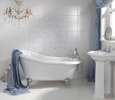 Laura Ashley Marchmont French Blue Patterned Wall Tile #tiles #Tiles #WallTiles #FloorTiles #KitchenTiles #BathroomTiles