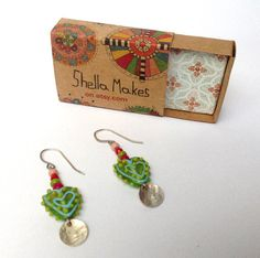 Ethnic style earrings beaded earrings handmade and by ShellaMakes