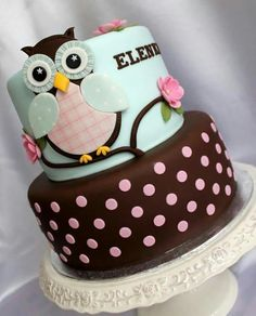 Polka Dot Owl Cake