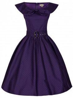 POSHme - LindyBop Hetty šaty fialové s černými puntíky Klasické Šaty d82af7feb95