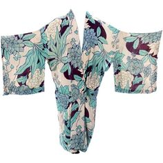 Preowned Silk Vintage Kimono Robe Hostess Gown 1920S 1930S Flowers (1.520 BRL) ❤ liked on Polyvore featuring multiple