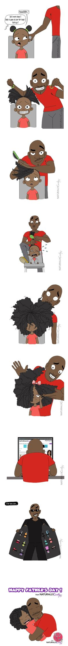 Go Natural---- Black father loving his daughter and showing her what men will appreciate and admire--REAL HAIR--allowing you to stay connected with the signals from the Cosmos--Our hair, body and organs are fed messages from the Sun, Moon, Planets and Starlights--Esoteric teachings....!!!