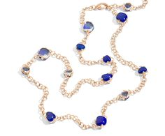 Pomellato Capri necklace in rose gold with lapis and rock crystal