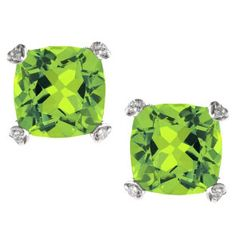 Cushion Cut Green Peridot Diamond Silver Simple Earrings Gemstone Jewelry Available Exclusively at Gemologica.com