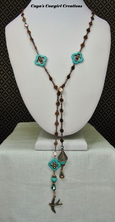 Western Copper Lariat Necklace / Cowgirl by CayaCowgirlCreations