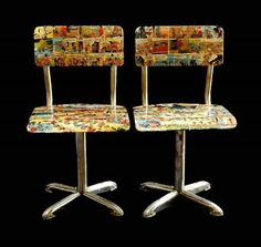 1950s Pair Mid Century Child Chairs Bentwood Comic Collage Decor Cowboys