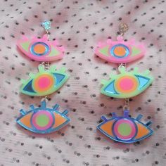 Colorful Neon Third Eye / Evil Eye Dangle Earrings with hypoallergenic Studs, Acrylic Earrings, Plastic Laser Cut Jewelry Weird Jewelry, Cute Jewelry, Jewelry Accessories, Funky Earrings, Diy Earrings, Statement Earrings, Piercings, Laser Cut Jewelry, Just In Case