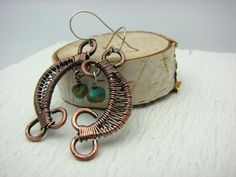 Copper Wire Wrapped Jewelry Handmade Dangle Earrings Hand Forged Rustic Oxidized and  Hammerd South West Turquoise on Etsy, $28.00