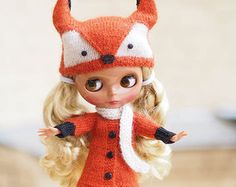 Knitted outfit for blythe, Fox costume, set fox, fox hat, coat, scarf, Coat Angora wool cardigan, for doll BJD, small dolls, MADE TO Order