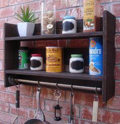 Industrial Rustic Kitchen Wall Shelf Spice Rack w/ Pot by KeoDecor