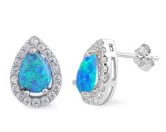 13mm Halo Blue Opal And Clear Cz Solid 925 Sterling Silver Tear Drop Pear Cut Stud Earring Casting Set