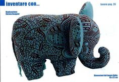 Fabric elephant with mold - Patchwork 1 of 2