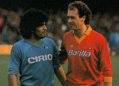 Diego Maradona (SSC Napoli) and Paulo Roberto Falcão (AS Roma, 1980–1985, 107 apps, 22 goals), season 1984/1985.