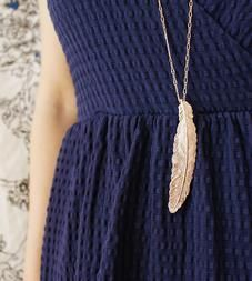 Feather Rose Gold Necklace