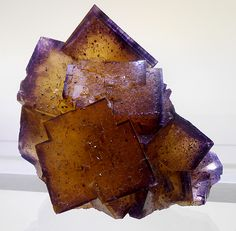 Yellow and purple colored Fluorite crystal group.  (CaF2)