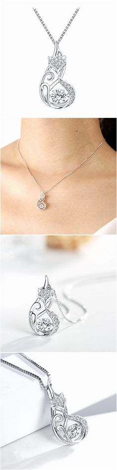 Necklaces and Pendants 155101: 925 Chain Sterling Silver Necklace - Dancing Stone With Swarovski Lovely Fox -> BUY IT NOW ONLY: $38.02 on eBay!