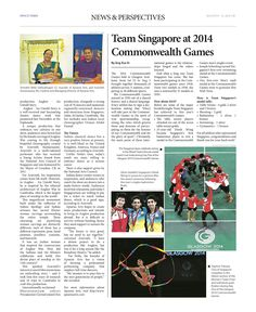 Team Singapore at 2014 Commonwealth Games --- (Epoch Times, Singapore Edition: Issue 492, August 8 – August 21, 2014)
