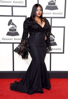 Jazmine Sullivan in a custom Michael Costello mermaid-silhouette gown at the 2016 Grammys.