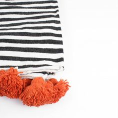 Cotton Stripe Pom Pom Blanket