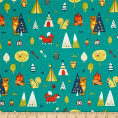 Happy Camper Flannel Camping Trip Turquoise from @fabricdotcom  Designed by Allison Cole for Camelot Fabrics, this single napped (brushed on one side only) flannel includes colors of orange, blue, yellow, white and green on a turquoise background. Use for quilting, crafts and apparel.