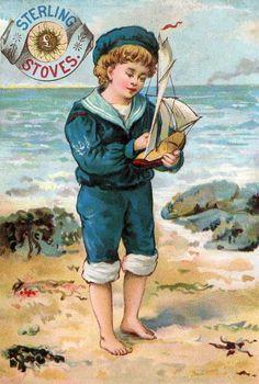 Vintage Sailor Boy Sterling Stoves Victorian Trade Card.