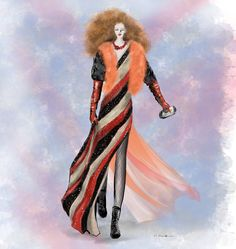'More is more and less is a bore'. A quote by Iris Apfel. I believe Jean Paul Gaultier had the same thoughts when he designed this collection - Spring 2016 - illustration by Linda Zoon