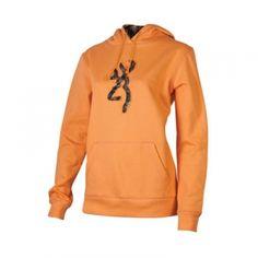 XL BROWNING Pumpkin SAFETY ORANGE Pull Over HOODIE Sweatshirt w//White BUCKMARK