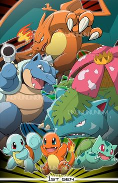 Pokemon Generation artwork by Mrs. Ray Peoples qualities of character + ability presented with art Pokemon Facts, Mega Pokemon, Festa Pokemon Go, Equipe Pokemon, Pikachu, Pokemon Starters, Cute Pokemon Wallpaper, Bulbasaur, Pokemon Pictures