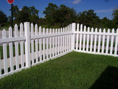 White Picket Wooden Fence Posts