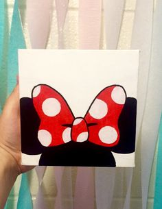 #minimouse #diy #canvas #cute #disney #dorm #mini #bow #simple #canvas #painting #polkadots #room #decoration #decor #fun #easy