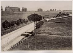 C 1880  Rome, The Aquaducts and the Via Appia.  Now houses are built all along this road.