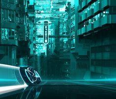 "Alberto Mielgo and Robert Valley - ""Tron: Uprising concept art (superstreet)"""