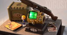 Fallout Props, Fallout Art, Polymer Clay Miniatures, Polymer Clay Charms, Combat Shotgun, Pip Boy, Game Props, Sonic Fan Characters, Fall Out 4