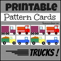 Love this idea for a transportation theme! #mathcenters #transportation truck patterns - The Measured Mom