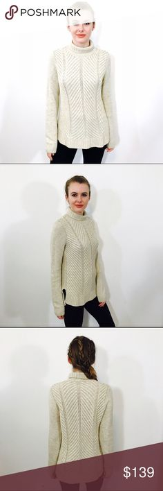 """VINCE CHEVRON WOOL KNIT OATMEAL PULLOVER SWEATER Beautiful KNIT SWEATER from VINCE, grayish cream color """"OATMEAL"""", EUC, minimal signs of wear, no major issues. Vince Sweaters Cowl & Turtlenecks"""