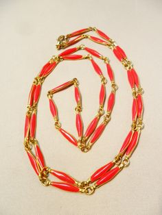 "Vintage Red Enamel Necklace 36"" Long Gold Plated Metal Valentine's Day Gift Runway Art Deco Retro 1980's by KathiJanes on Etsy"