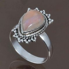 TEAL RAINBOW MOONSTONE 925 STERLING SILVER RING JEWELRY 5.17g DJR8849 SIZE-8 #Handmade #Ring