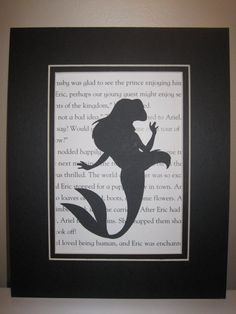 1 Ariel 5 x 7 Silhouette on Storybook Paper BLACK by MonkeyCs, $10.00. I need this.