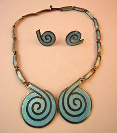 Margot de Taxco Sterling Silver & Enamel Necklace & Earrings