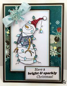 Christmas card using the adorable Lighted Snowman set (SKU#4349) from Art Impressions.