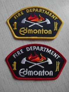 Set: 2 Patch Edmonton fire department Shoulder Flashes Canada 100% ORIGINAL NEW